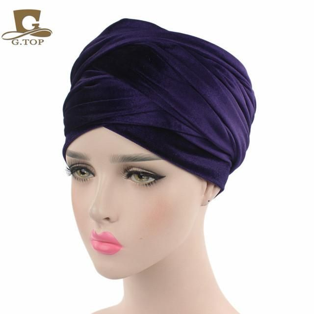 New Autumn Women India Style Long Velvet Turban Muslim Hijab Headscarf Wraps Cap