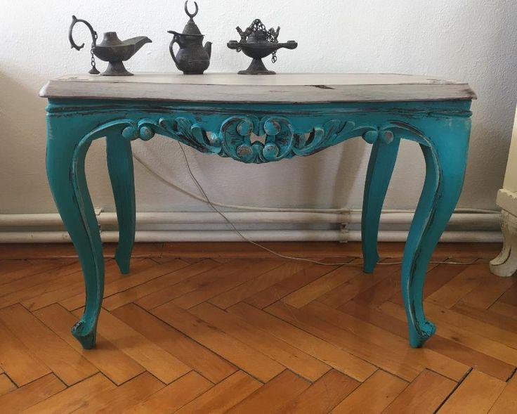 mavi el boyama mermer tablal oymal sehpa dekopasaj com eskitme mobilya