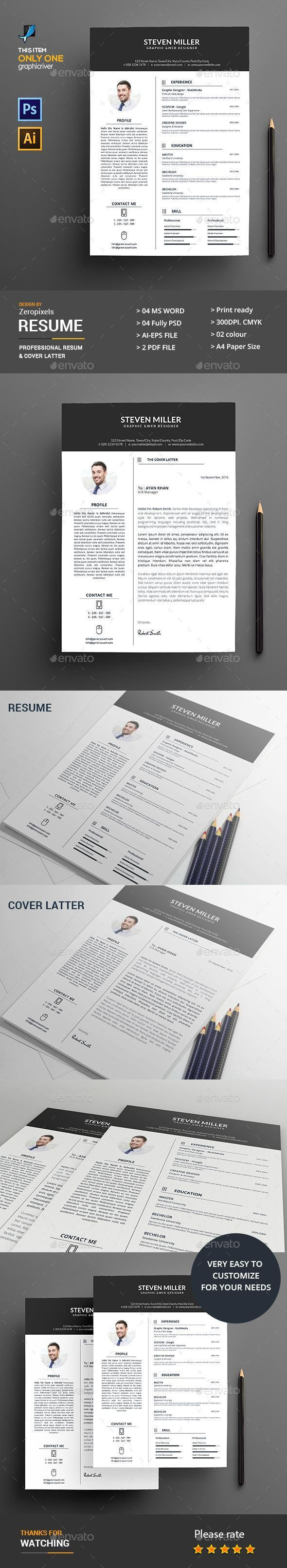 Cv Templates Pdf%0A  Resume  Template Cover Letter instant download by u