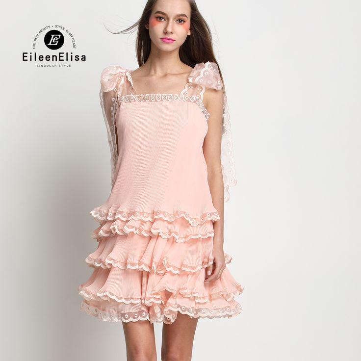 Layered Dress Women 2017 High Quality Summer Runway Dress With Spagheeti Strap Luxury Layered Dresses