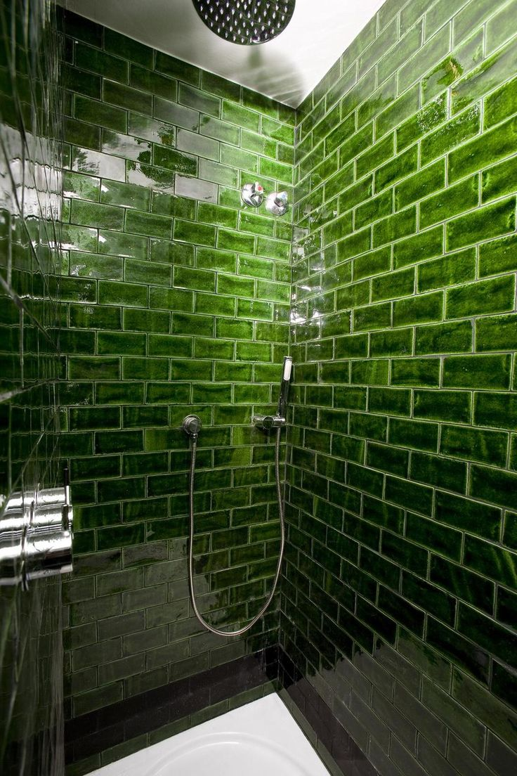 Bold Green Subway Tile Hotel Praktik Rambla Handmade Tiles Can Be Colour Coordinated And Customized Re Shape Texture Pattern Etc By Ceramic Design