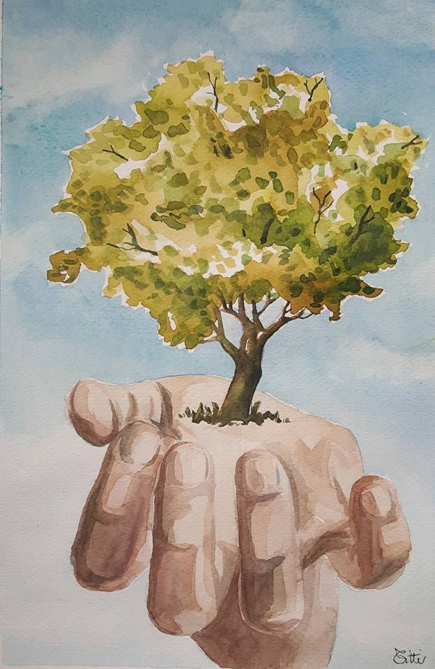tree and hand with watercolor