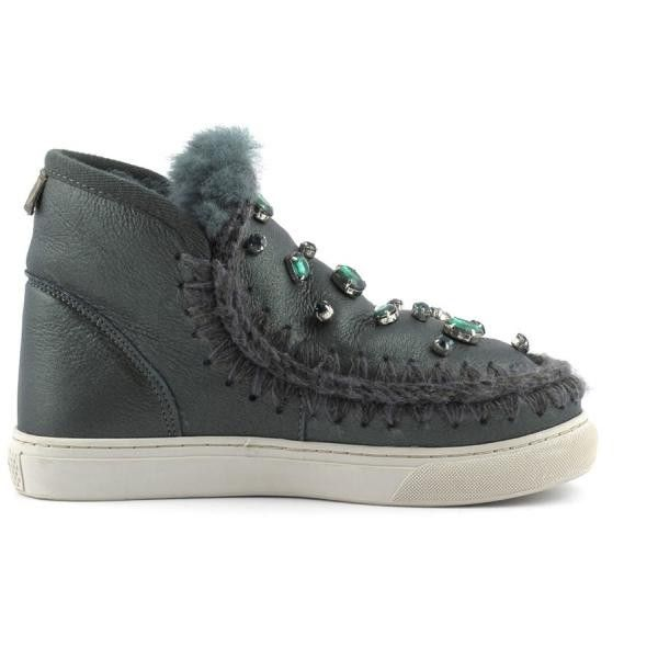 MOU Mini Eskimo Sneaker With Rhinestones Women Boots Pearl Nappa Green - MOU Christmas Day Deals (289€->215€) AVAILABLE NOW! #christmas #ChristmasSale #christmasdeals