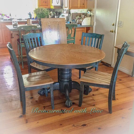 Farmhouse Table Extendable Dining Table Blue Kitchen Table