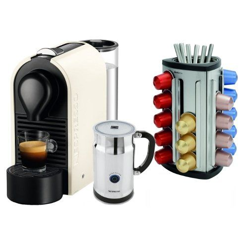 nespresso u pure cream espresso machine with aeroccino. Black Bedroom Furniture Sets. Home Design Ideas