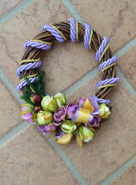 SMALL SIZED WREATH – Lavender - PatriziaB.com  Handcrafted wreath embellished with silk cordon spirals and a refined decoration of rosettes, berries and satin ribbons