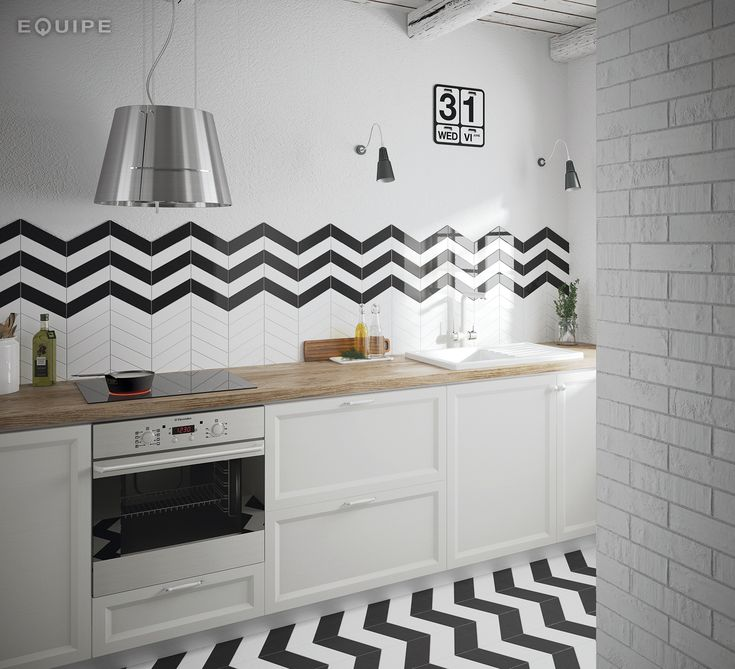Chevron Wall White, Black 18,6x5,2