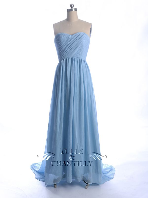 Periwinkle blue long bridesmaid dress with sweep train for Periwinkle dress for wedding