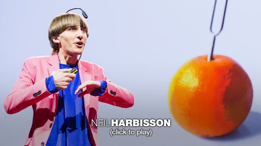 Neil Harbisson: I listen to color  Artist Neil Harbisson was born completely color blind, but these days a device attached to his head turns color into audible frequencies. Instead of seeing a world in grayscale, Harbisson can hear a symphony of color -- and yes, even listen to faces and paintings.