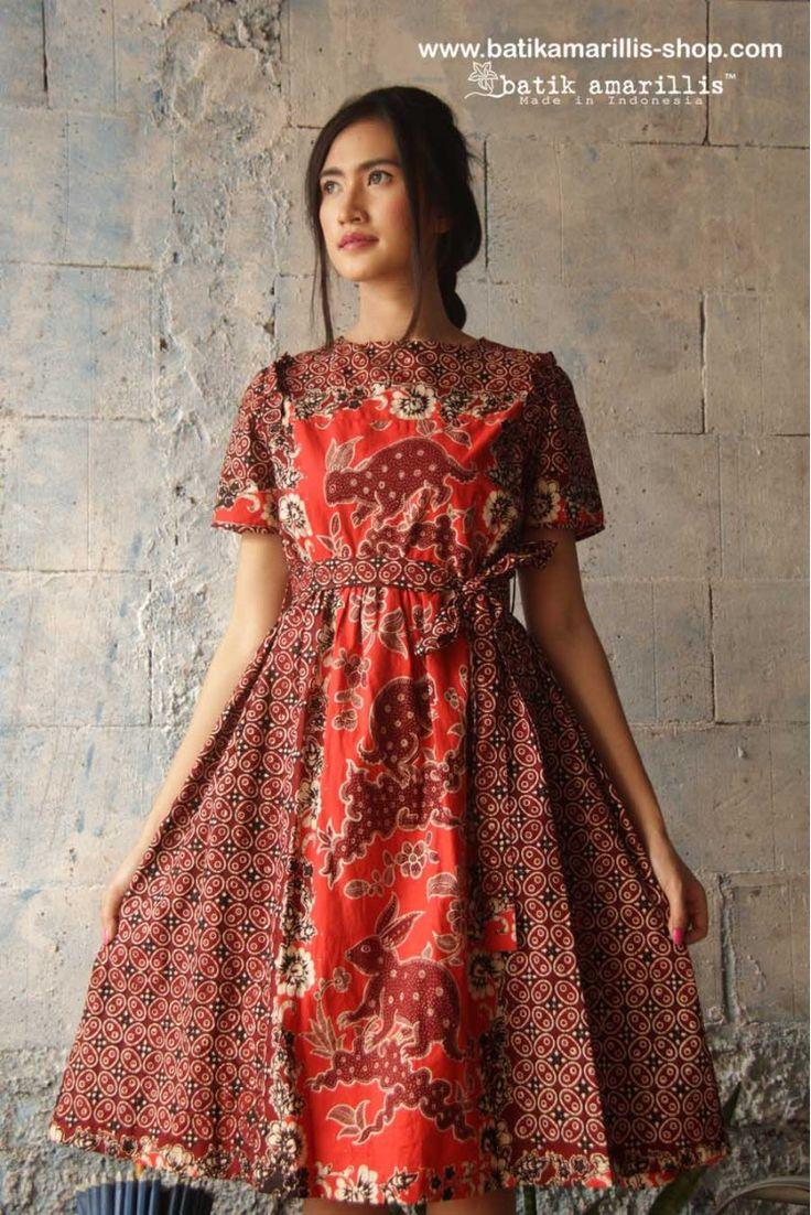 batik amarillis's innocencia dress www.batikamarillis-shop.com ...with ruffled at chest, softly pleated skirt, it is truly a sweetheart dress.. Made of old & classic patternhand drawn  batik coletan Banyumas,Indonesia