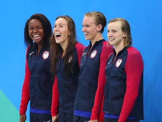 Simone Manuel, Abby Weitzeil, Dana Vollmer, and Katie Ledecky - Silver Medal - Women's 4x100 Freestyle Relay_Swimming