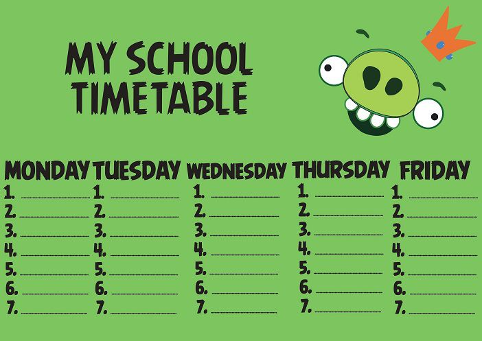 Plan lekcji school timetable Angry Birds