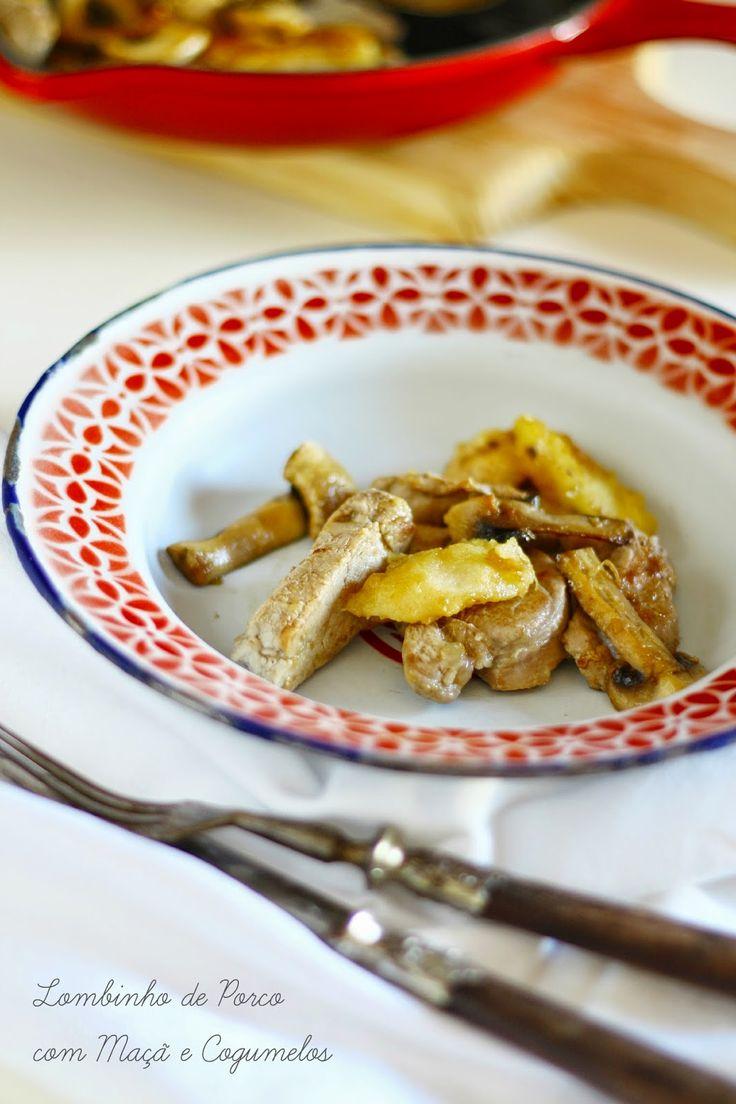 Hoje para jantar ...: Lombinho de porco com maçã e cogumelos {Hoje para ...