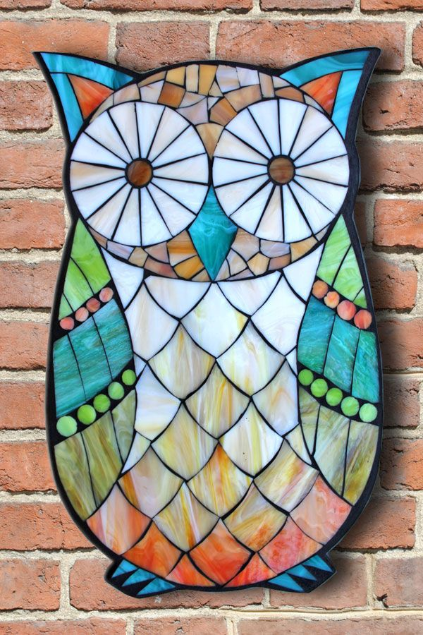 Learn the art of Stained Glass Mosaics! Sign up for the Online Class via www.kasiamosaicsclasses.com  Student Work from a Kasia Mosaics Stained Glass Mosaic Owl Workshop - Mosaic Owl by Casey.