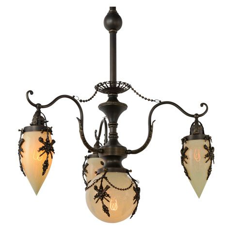 Extremely Rare Empire 4 Light Chandelier W Straw Opalescent Glass C1898
