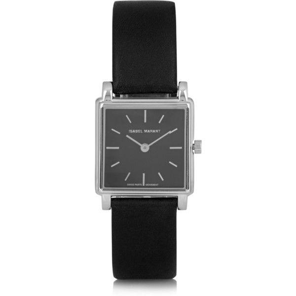 Isabel Marant Stainless steel and leather watch (1,120 CAD) ❤ liked on Polyvore featuring jewelry, watches, isabel marant, bracelets, black, water resistant watches, stainless steel wrist watch, isabel marant jewelry and leather jewelry