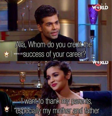 Alia Bhatt meme whatsapp Karan coffee parents