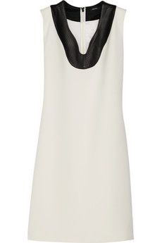 Raoul Darya leather-trimmed piqu� dress   THE OUTNET