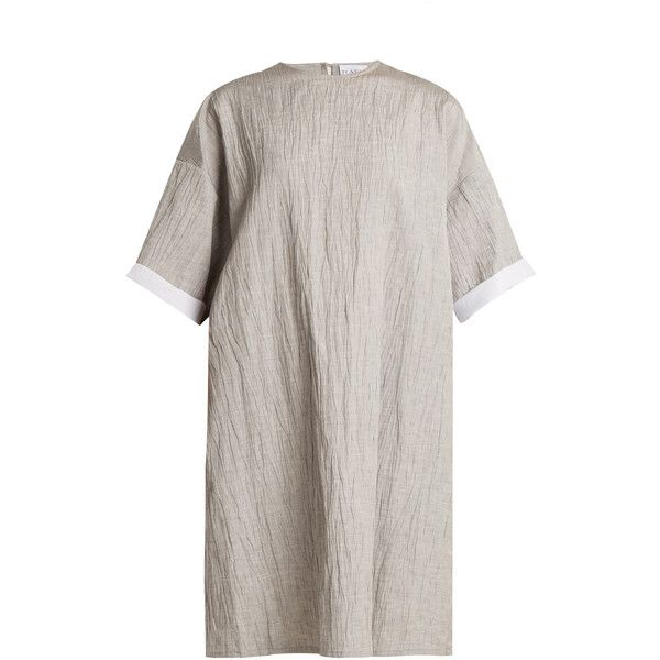 Raey Crinkle linen and silk-blend T-shirt dress (£330) ❤ liked on Polyvore featuring dresses, grey, t-shirt dresses, grey t shirt dress, oversized dress, gray tee shirt dress and slip on dress