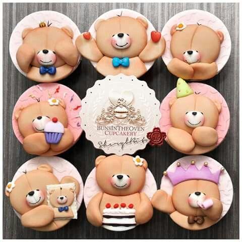Dá pra acreditar que são cupcakes de ursinhos?! Coisa mais fofa do mundo!