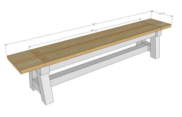 Ana white build a 4x4 truss benches free and easy diy for Ana white table bench