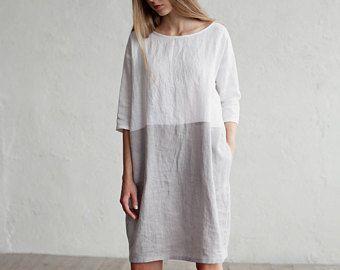 Locker geschnittenes Kleid Leinen. Farbe-Block-Kleid. Weiß und Grau Leinen Tunika. Gewaschene… #kleid