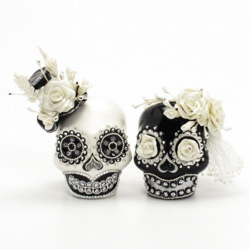 Black White Day of Dead Theme Wedding Cake Topper Handmade Love Never Die Couple Sugar Skull 00137