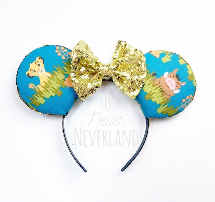 Lion King Mickey Ears, Timon and Pumbaa Mickey Ears, Animal Kingdom Ears, Lion King Ears, The Lion King, Lion King Ear Headband by ToNeverNeverland on Etsy https://www.etsy.com/listing/508377795/lion-king-mickey-ears-timon-and-pumbaa