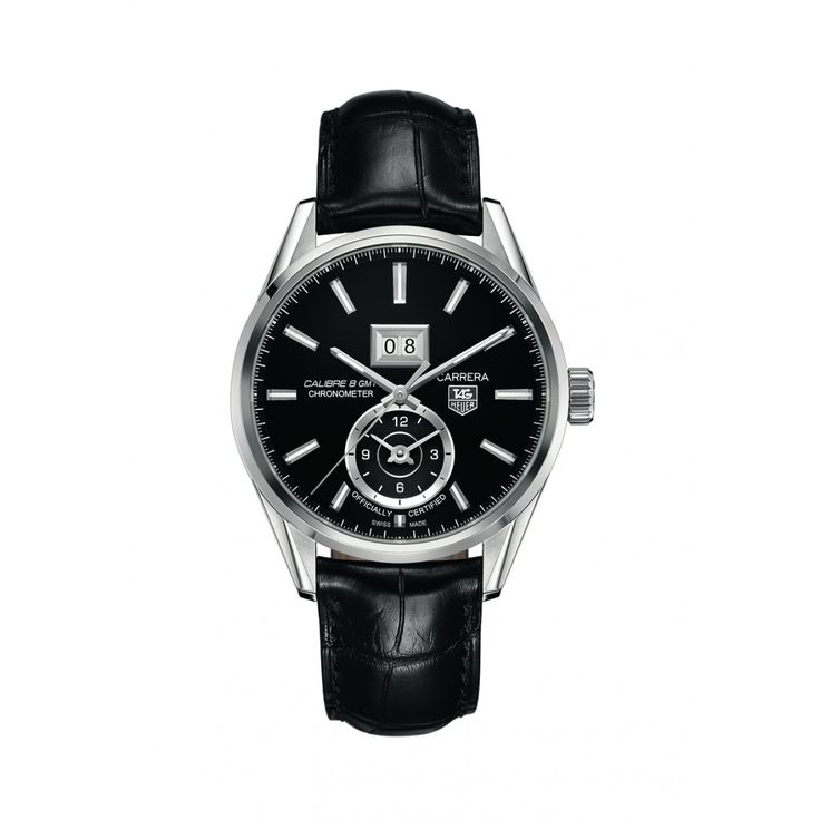 TAG Heuer Carrera GMT men's black leather strap watch