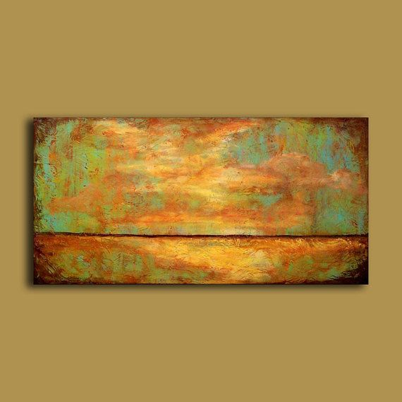 Abstract art landscape original painting warm earthy and for Minimal art landscape
