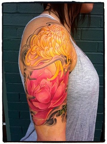 GORGEOUS Tattoo Pattern, Colors Tattoo, Tattoo Artists, Half Sleeve, Ink Tattoo, Tattoo Design, Tattoo Ink, Floral Tattoo, Flower Tattoo