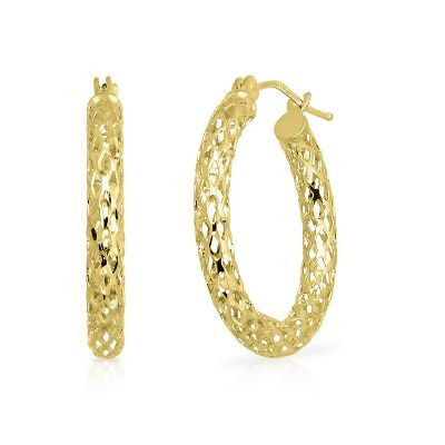 EnduraGold™ Pierced Tube Hoop Earrings in 14K Gold available at #HelzbergDiamonds