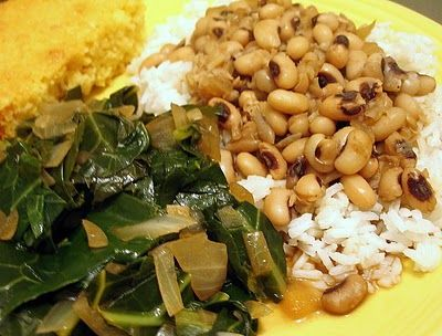 New Years day tradition food, black eye peas, rice, greens, cornbread. yum