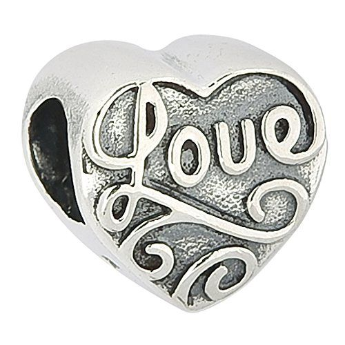 Love Heart Flower Floral Authentic 925 Sterling Silver Bead Love Heart Charm ...