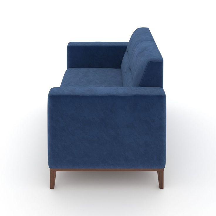 Sofa De 2 Lugares Madah De Veludo Azul 140cm Sofa 2 Lugares Veludo Azul Sofa