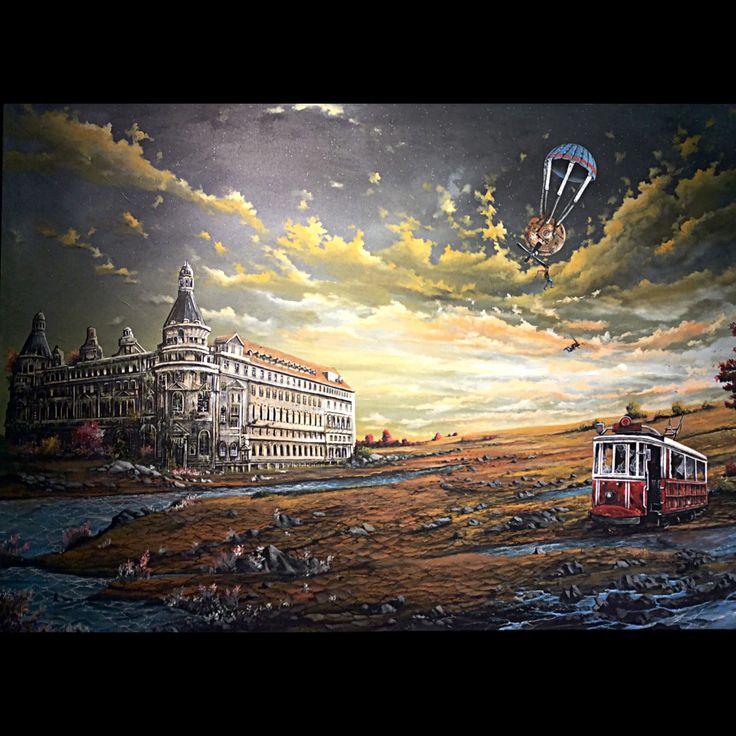 "Serdar Akkılıç ""istanbul Masalları Serisi (Haydarpaşa) "" 100x140cm/acrylic on canvas/2015"