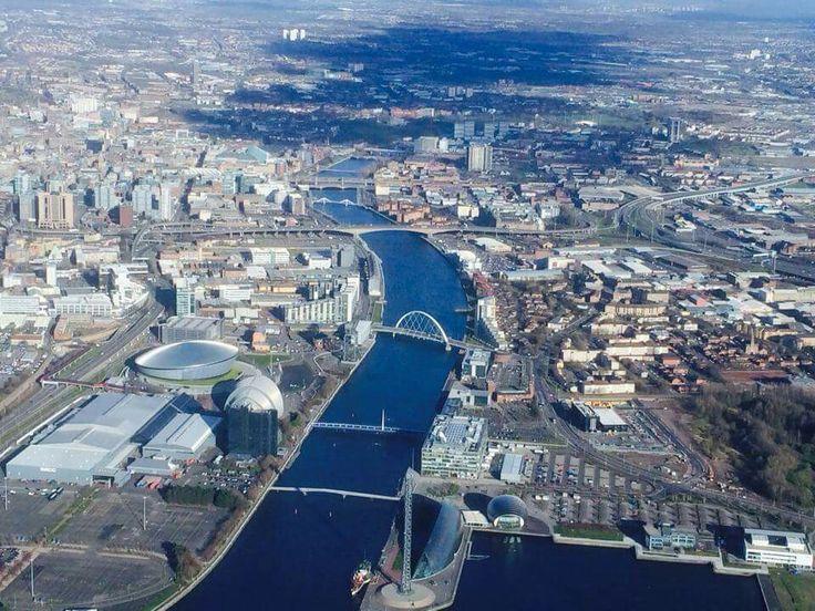 Arial view of Glasgow, Scotland