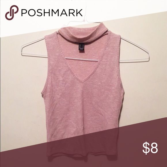 Sleeveless cropped top with a chocker Sleeveless pink cropped top with a chocker. Very flattering. Good condition. Not brandy Melville Brandy Melville Tops Crop Tops