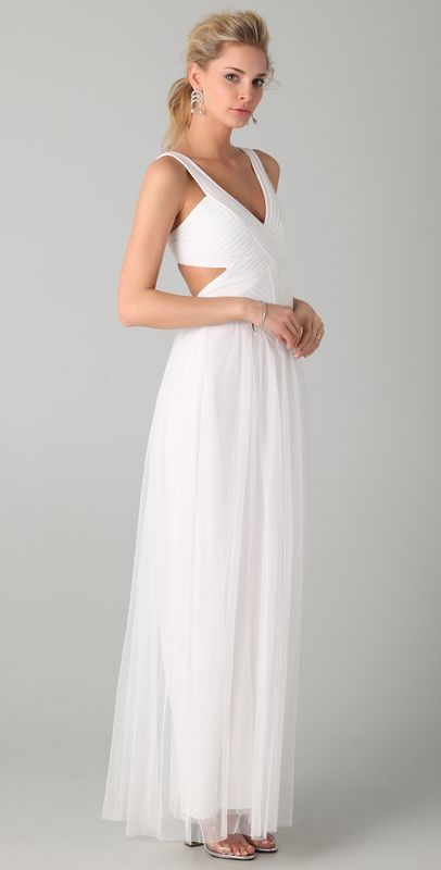 This gorgeous open back gown would be perfect for a geometric modern wedding! Mara Open Back Gown from http://shopbop.com/mara-open-back-gown-bcbgmaxazria/vp/v=1/845524441938152.htm?folderID=2534374302172081=browse-brand-shopbysize-viewall=12397  Photo Credit: http://shopbop.com