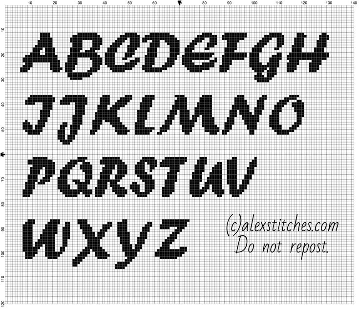Cross stitch alphabet forte font uppercase letters - free download pattern