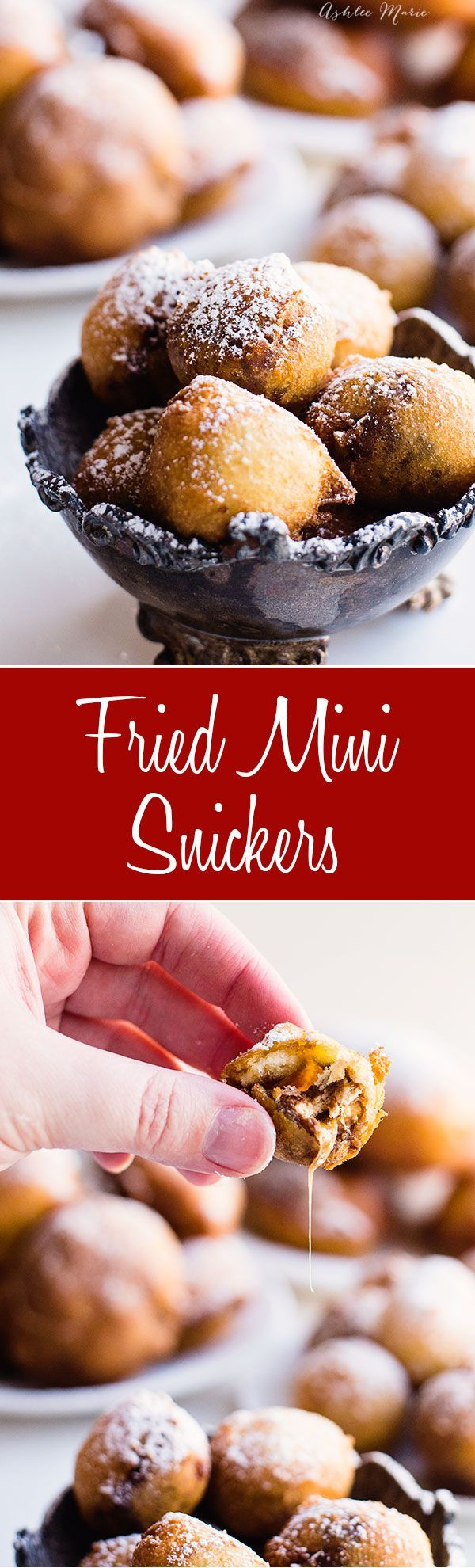 Fried Mini snickers (or other mini candy bars) are easy to make and SO delicious, you'll get a warm melted candy center fried in a sweet batter - recipe and video tutorial