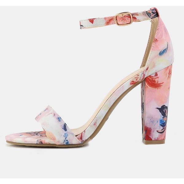 Floral Open Toe Chunky Heels BLUSH ❤ liked on Polyvore featuring shoes, pumps, floral print pumps, floral pattern shoes, chunky heel pumps, open-toe pumps and chunky heel shoes