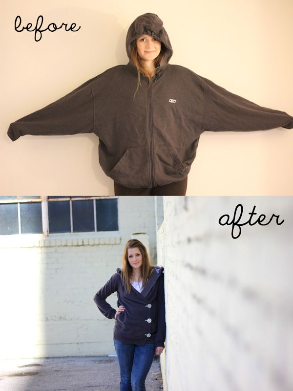 sweatshirt liposuction | DIY Big to Smaller Hoodie