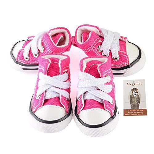 Megi Pet Dog Sporty Shoes Canvas Dog Boots Nonslip Dog Booties Sneaker for Chihuahua Yorkie Small Doggies Pink S - http://www.thepuppy.org/megi-pet-dog-sporty-shoes-canvas-dog-boots-nonslip-dog-booties-sneaker-for-chihuahua-yorkie-small-doggies-pink-s/