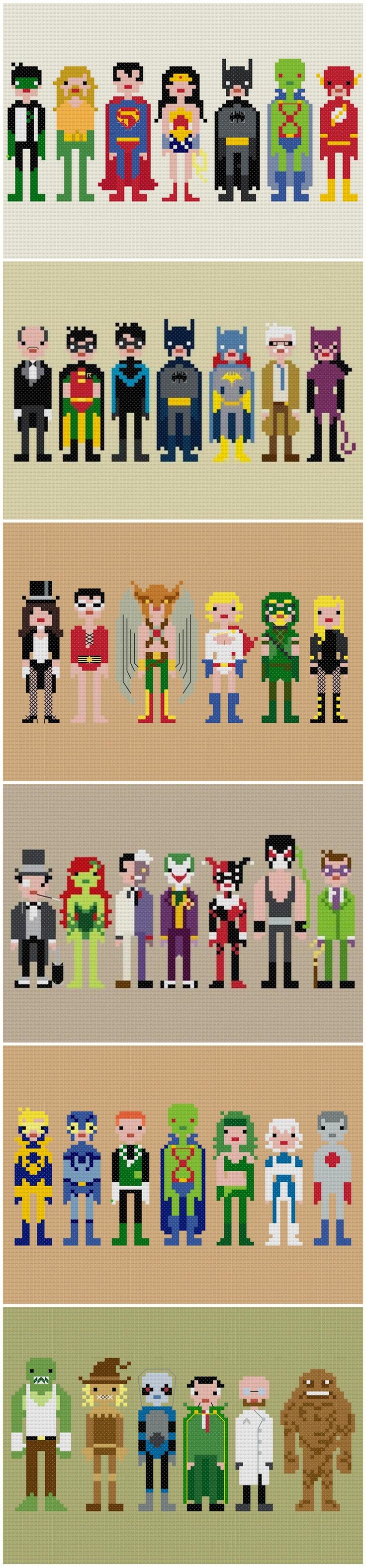 Weelittlestitches contemporary cross stitch Justice League and Batman patterns {etsy.com/shop/weelittlestitches}