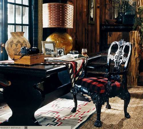 Ralph Lauren Home Indian Cove Collection Buffalo Plaid Red And Black Adirondack Tribal Style