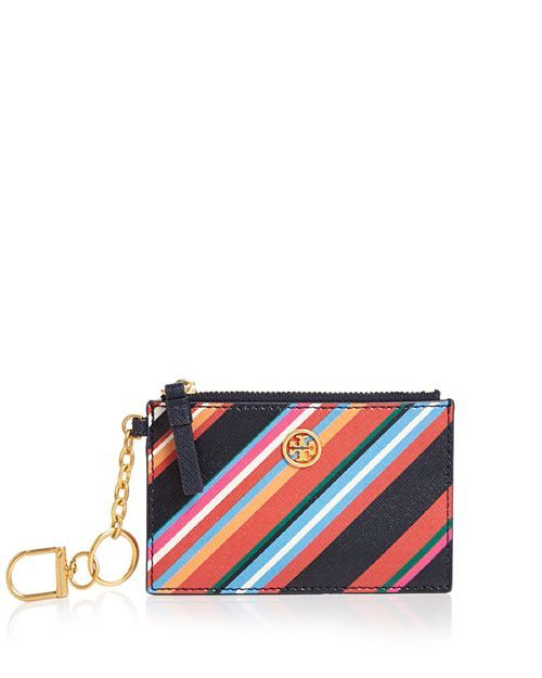 huge selection of d037f 88a85 Tory Burch - Robinson Striped Leather Key Fob Card Case | Christmas ...