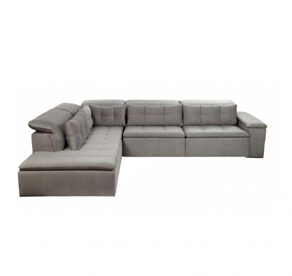 Sofá retrátil com chaise  | 281L x 107/250P x 80H. Design selecionado. Assento retrátil. Encosto com catraca. Almofadas de encosto soltas. Diversas opções de tamanhos e tecidos.