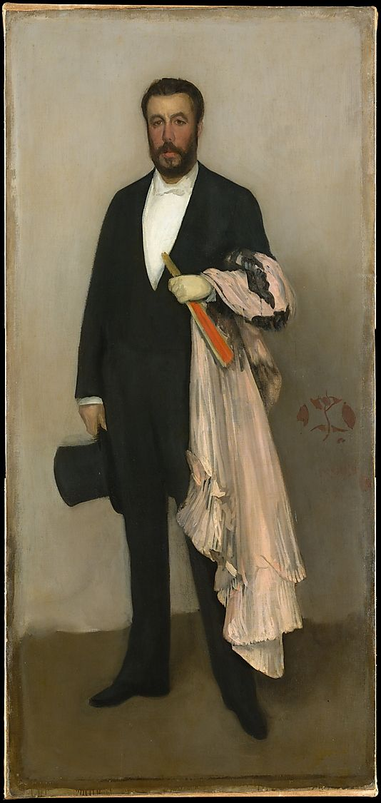 James McNeill Whistler (American, Lowell, Massachusetts 1834–1903). Arrangement in Flesh Colour and Black: Portrait of Theodore Duret, 1883. The Metropolitan Museum of Art, New York. Catharine Lorillard Wolfe Collection, Wolfe Fund, 1913 (13.20)   Theodore Duret (1838–1927), heir to a firm of Cognac dealers, was a collector, orientalist, and art critic. #mustache #movember