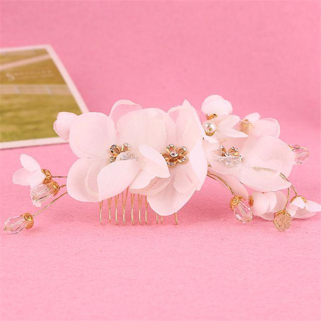 Bride Pearl Silk Lace Flower Headband Tiaras Wedding Hair Comb Crystal Jewelry Accessories Coroa De Noiva Acessorio Para Cabelo
